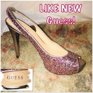 • GUESS | LIKE NEW | Open Toe Glitter Heels •